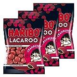 Haribo Lacaroo Cranberry, 3er Set, mit Lakritzkern, Gummibärchen, Weingummi, Fruchtgummi, im Beutel, 375 g