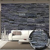Great Art Fototapete 3d Effekt Black Stonewall Wandbild Dekoration Tapete  In Steinoptik Schwarz Steinwand Wohnzimmer