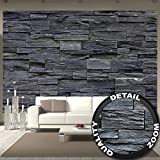 great-art Fototapete 3d Effekt Black Stonewall Wandbild Dekoration Tapete in Steinoptik schwarz Steinwand Wohnzimmer 3d Tapete Stein | Foto-Tapete Wandtapete Fotoposter Wanddeko by (336 x 238 cm)