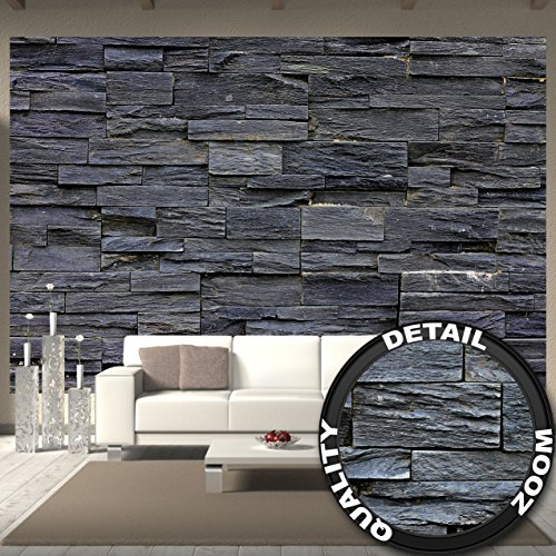 *great-art Fototapete 3d Effekt Black Stonewall Wandbild Dekoration Tapete in Steinoptik schwarz Steinwand Wohnzimmer 3d Tapete Stein | Foto-Tapete Wandtapete Fotoposter Wanddeko by (336 x 238 cm)*