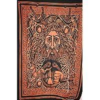 Einfarbig Keltisch Raben Wolf Totem Wandbehang Tapisserie Komplizierte Wikinger Knoten Kunstwerke Wandteppich Ethnisch Stammes Keltisch Wanddekor Boho Wanddecke Schlafsaal Wandtuch white 150x130cm