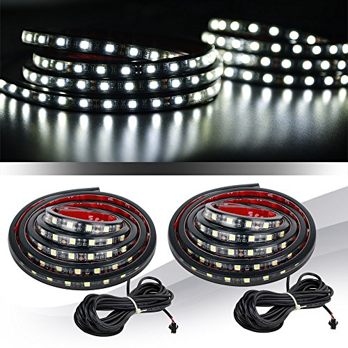 "Preisvergleich Produktbild MICTUNING 2Pcs 60"" Weiß LED Strip Licht Streifen Lampe Wasserdicht Lichtleiste Kit w/On-Off Switch Fuse 2-Way Spiltter Kabel für Jeep Pickup Truck RV SUV"