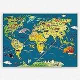 ge Bildet hochwertiges Leinwandbild XXL Weltkarte für Kinder - Dunkelblau bild für kinderzimmer - Premium Leinwanddruck 100 x 70 cm einteilig 2202 L