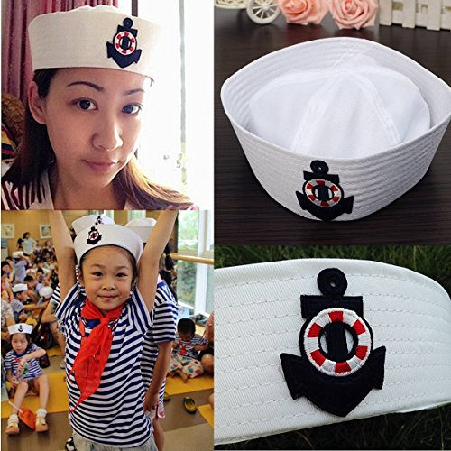 Erwachsene Sailor Für Marine Kostüm - mark8shop Kinder Kinder Erwachsene Weiß Marine Hat sea Boat Stickerei Skipper Anker Emblem Sailors Kostüm Party Marineblau Gap
