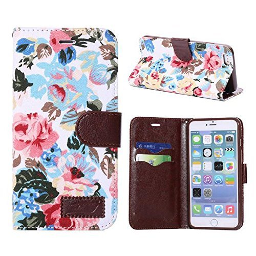 Splendid (TM), iPhone 6/6S Étui portefeuille, élégant Colorful Fleur Étui luxe étui à rabat en cuir PU avec support intégré magnifique magnifique couleur rose motif fleur avec crédit/car