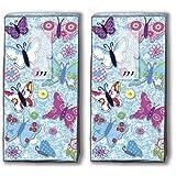 Mouchoirs 20 (2 x 10)-fait main motif papillons/motivtaschentücher