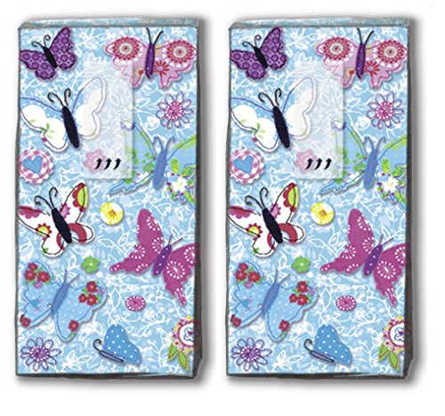 20 Taschentücher (2x 10) Handmade Butterflies - Handgemachte Schmetterlinge / Frühling / Motivtaschentücher