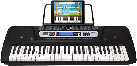 RockJam RJ654 tragbares 54-Tasten Digital Keyboard mit Notenständer und Interaktivem LCD-Bildschirm