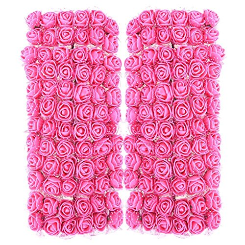 Ueb 144pcs teste di rose in schiuma mini rose finte per decorazioni bouquet fiori artificiali decorazione per matrimonio festa auto casa diy ghirlanda di fiori da sposa (rosa rossa)