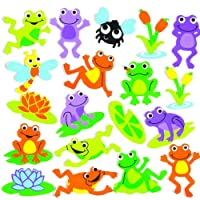 Baker Ross Funky Frog Stickers for Children to Decorate and Personalise Crafts & Spring Cards - Scrapbooking Embellishment for Kids (Pack of 120)