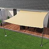 IBIZSAIL Premium Sonnensegel - Viereck (Quadratisch) - 400 x 400 cm - Creme - Wasserabweisend (inkl. Spannseilen)