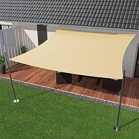 IBIZSAIL Premium Sonnensegel - Viereck (quadratisch) - 400 x 400 cm - CREME - wasserabweisend (inkl.