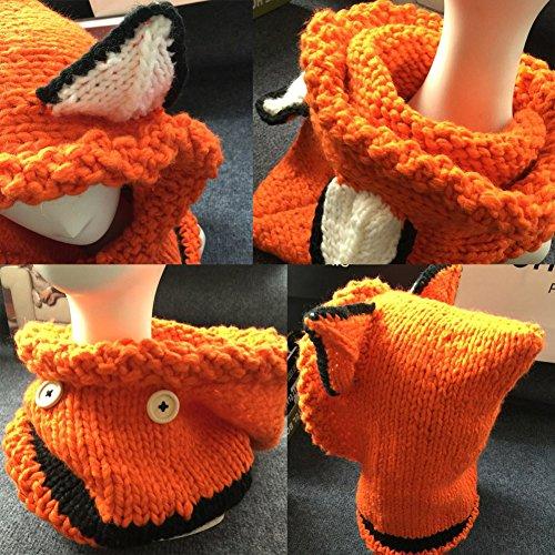 Chaud Mignon Bonnet Snow Cap chapeaux d'hiver Écharpe pour les enfants Orange