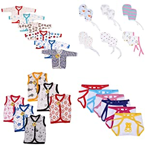 Fareto® New Born Baby Daily Wear Essential Items in Single Pack 6 Baby Vest/6 Baby Front Open Full Sleeves Shirt/6 Teddy Print Single Layer Nappies/ 6 Pair of Mittens(0-6 Months, Multicolored)