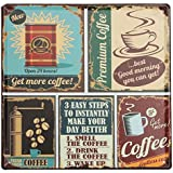 "KING DO WAY ""Coffee"" Rétro Murale Plaque Décorative Enseigne Métal Décor Bar Café Garage Metal Sign-30cmX30cm"