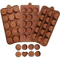 3 pièces de moules en silicone en forme de coeur et en forme de fleur, utilisés pour faire du chocolat,des bonbons,des…
