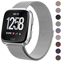 "Milanese Metal Bands Compatible for Fitbit Versa Bands/Versa Lite Edition Bands for Women Men, Replacement Stainless Steel Wristband Accessories Strap (S(5.1""-7.9""), Silver)"