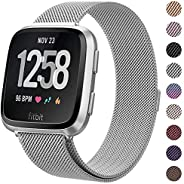 Milanese Metal Bands Compatible for Fitbit Versa Bands/Versa Lite Edition Bands for Women Men, Replacement Sta