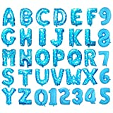 "Gold Silver Blue & Pink 16"" Alphabet Letter A-Z & Number 0-9 Foil Balloons For Wedding Party Name Non-Float (Number 2, Blue)"