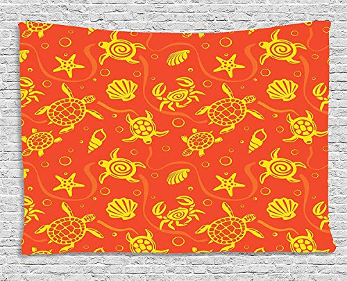 MLNHY Burnt Orange Decor Tapestry, Swimming Turtles and Crabs with Shells Bubbles and Starfish Tropical Ninja, Wall Hanging for Bedroom Living Room Dorm, 80 W X 60 L Inches, Burnt Orange Yellow (Decor Turtle Ninja Room)