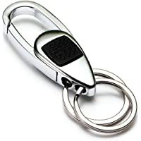 Fencher Portachiavi Anello Porta Chiavi Keychain Key Chain in Lega di Zinco con ABS [2 Anelli Regalati] - Argento Nero