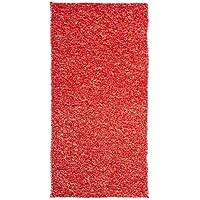 Alfombra de pie de cama romántica roja de algodón / poliéster para dormitorio de 60 x 120 cm Iris - Lola Derek