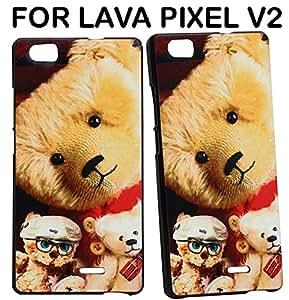 JKOBI(TM) Exclusive Rubberised Back Case Cover For LAVA PIXEL V2-Giant Teddy