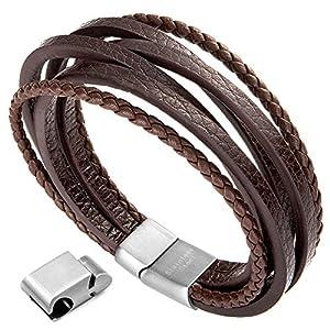 Herren Armband Edelstahl Echtleder Armband – Murtoo schwarz|braun geflochten mit Magnet Verschluss(22cm)