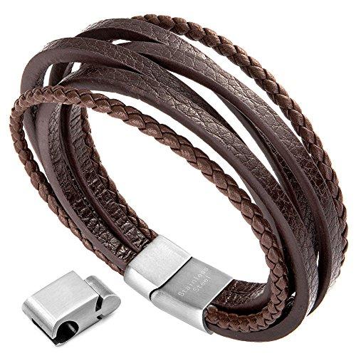 Herren Armband Edelstahl Echtleder Armband - Murtoo schwarz|braun geflochten mit Magnet Verschluss(22cm) (BraunA)