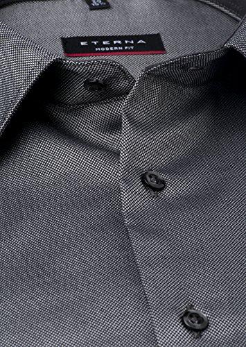 ETERNA Langarm Hemd MODERN FIT Natté strukturiert Schwarz