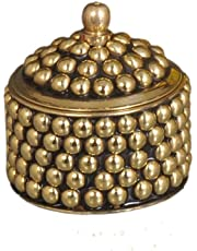 Nutristar Brass Dotted Sindoor Box (Small, Yellow)