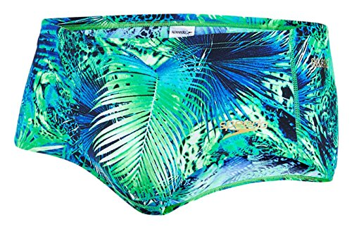 Speedo Herren Junglewave Allover 14 cm Brief Badehosen Fluo Green/Bali Blue/Deep Peri