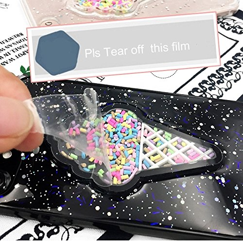 GHC Cases & Covers, Für iPhone 6 & 6s Eiscreme Muster Glitter Powder Schutzmaßnahmen zurück Fall Fall ( Color : Black ) Black
