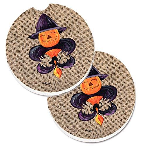 s Halloween Kürbis Fledermaus Fleur de Lis Set von 2Tasse Halterung Auto Untersetzer 8748Carc, 2,56, multicolor (Halloween Aussparungen Für Kürbisse)
