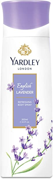 Yardley English Lavender Body Spray for Women, Floral aromatic freshness, relaxing and calming scent, 200 ml