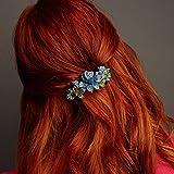 queenmee blau Blume Haar Clip mit Haar Clip Kristall Haar