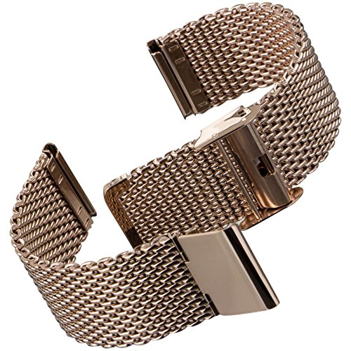 Geckota cinturino orologio acciaio inossidabile maglia milanese ip oro rosa, 20mm