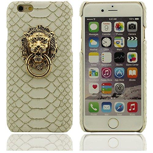 Neuer Entwurfs Löwenkopf Kupfer Ringmuster schwer Schutzhülle Abdeckung case für Apple iPhone 6 Hülle 4.7 inch(Weiß) Weiß