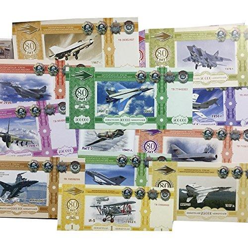 IMPACTO COLECCIONABLES Billetes de Rusia - 6 Billetes Privados de los Aviones MiG 2012