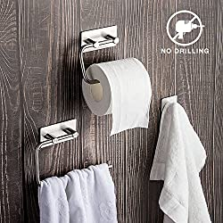 Bathroom Accessory Set: Towel Rail, Toilet roll Holder, Hooks Sets of 3 Stainless Steel 304 Easy to insall for 3M Stick