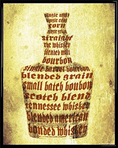 1art1 Whiskey Poster Kunstdruck und Kunststoff-Rahmen - Whisky Sorten (50 x - Kunststoff-jack Daniels Flasche