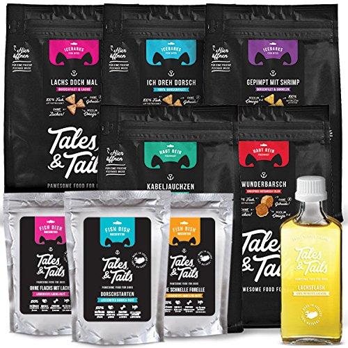 Tales & Tails® - Das volle Programm Leckerli, Snacks, Nassfutter und Öl für Hunde, Kabeljau, Dorsch, Lachs, Forelle, Shrimp, Rotbarsch, 100% Fisch pur, getreidefrei -