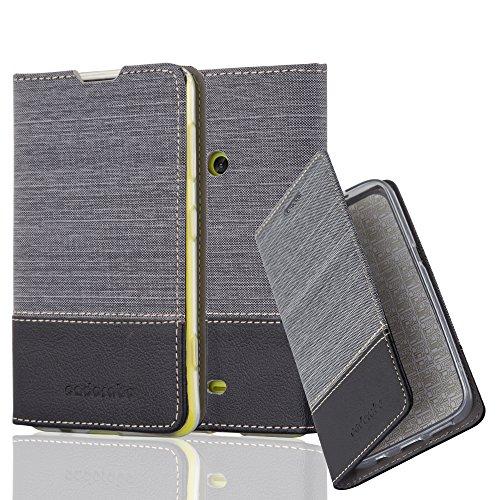 Cadorabo Hülle für Nokia Lumia 625 - Hülle in GRAU SCHWARZ – Handyhülle mit Standfunktion und Kartenfach im Stoff Design - Case Cover Schutzhülle Etui Tasche Book