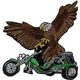 """Gran espalda bordado parche de nitrógeno """"Trike y águila"""" nuevo tamaño aprox 22 cm x 21 cm (08019 verde) mivall Triker canionm"""