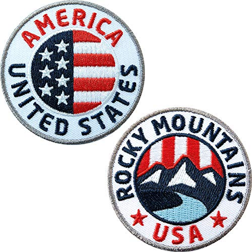 Club of Heroes 2er Set USA + Rocky Mountains Abzeichen gestickt 60 mm/United States Nord-Amerika Amerika Flagge Flagg Wappen Reisen/Aufnäher Aufbügler Flicken Sticker Patch/Reiseführer Buch Karte -