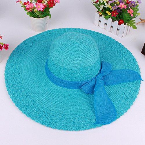 ZHANGYONG*La signora Xia autunno gite ombrellone Bow Tie Stetson hat nero cappello per il sole, (Signore Blu Visor)