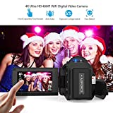 Docooler Video Camera, Andoer 4K 1080P 48MP WiFi Digital Video Camera Camcorder Recorder with 0.39X Wide Angle Macro Lens External Microphone Novatek 96660 Chip 3in Capacitive Touchscreen