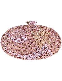 Bonjanvye Round Shape Floral Clutch Purses with Crystal Rhinestone for Women