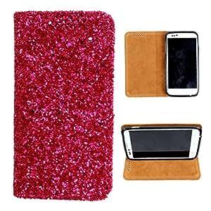 i-KitPit Sparkling PU Leather Flip Case For Lava Xolo Q1000s (PINK)