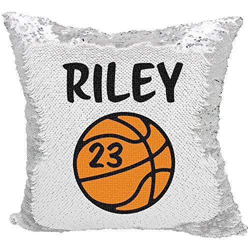 Personalisierte Home Jersey (Alicert5II Basketball Sportkissen Personalisierter Basketball mit Jersey Anzahl Reversible Paillettenkissen Magische Paillettenkissen)